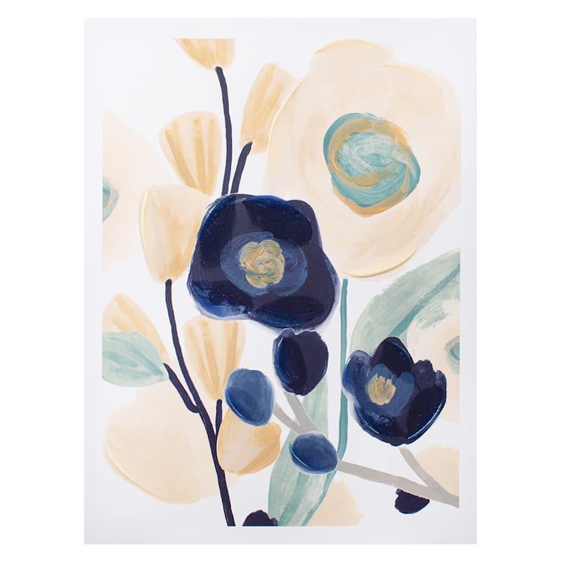 18x24 Blue/Cream Floral Canvas Wall Art