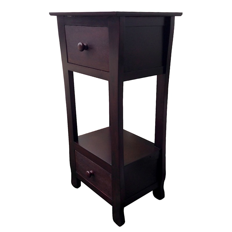 Two Drawer Thick Leg Table Brown
