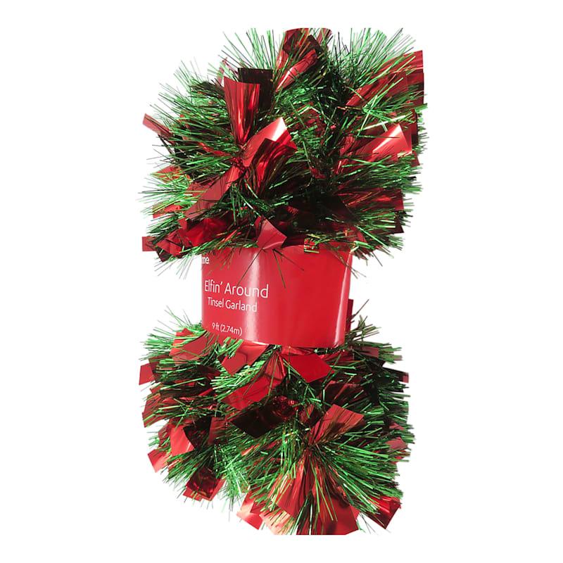 Red & Green Boa Christmas Tinsel, 9'