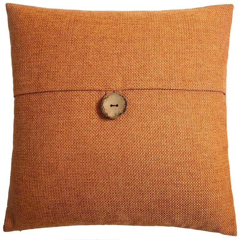 Clayton Orange Feather Filled Coconut Button Pillow 20X20