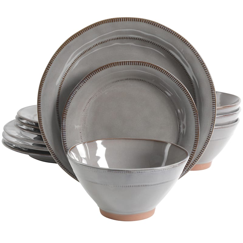 Terranea 12-Piece Dinnerware Set Grey Reactive Terracotta