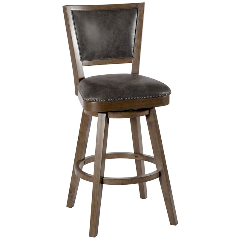 Hendrix Brown Upholstered Swivel Barstool with Nailheads & Upholstered Seat