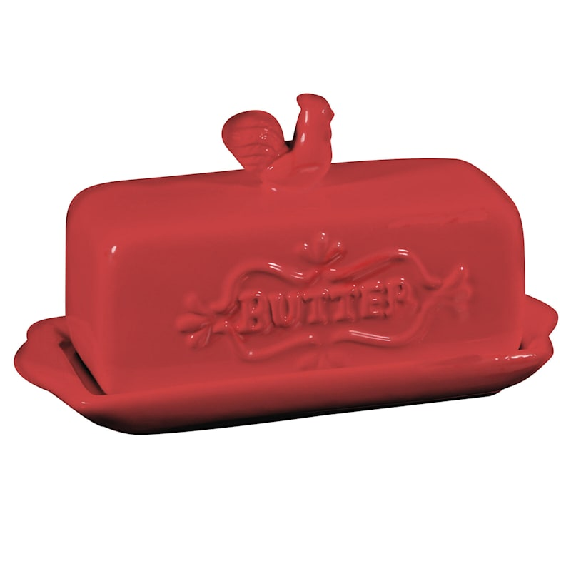 Rooster Butter Dish Red