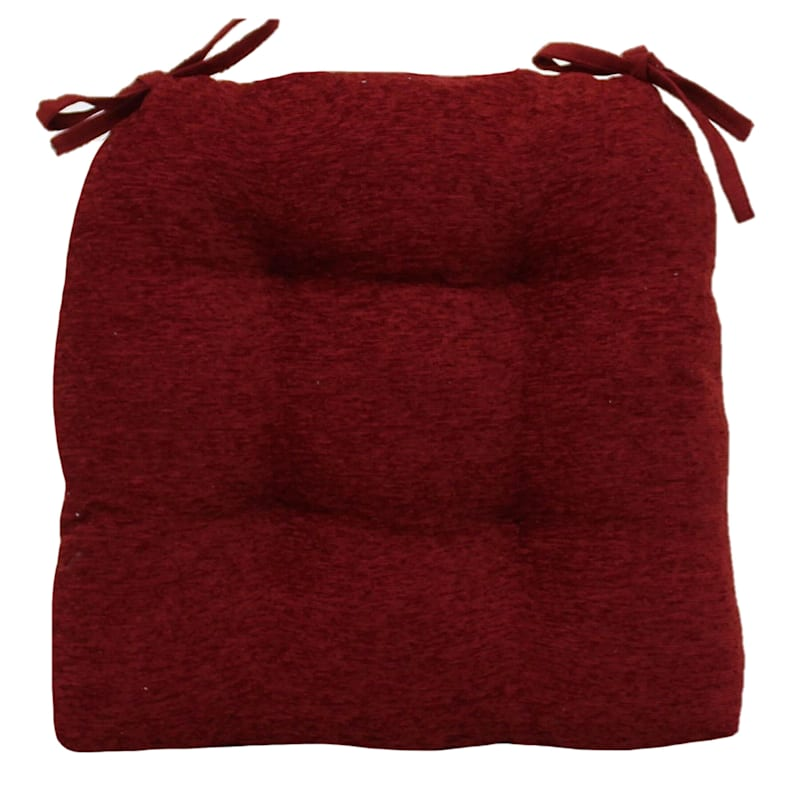 Crown Chenille Waterfall Chair Pad/4 Tacks Red