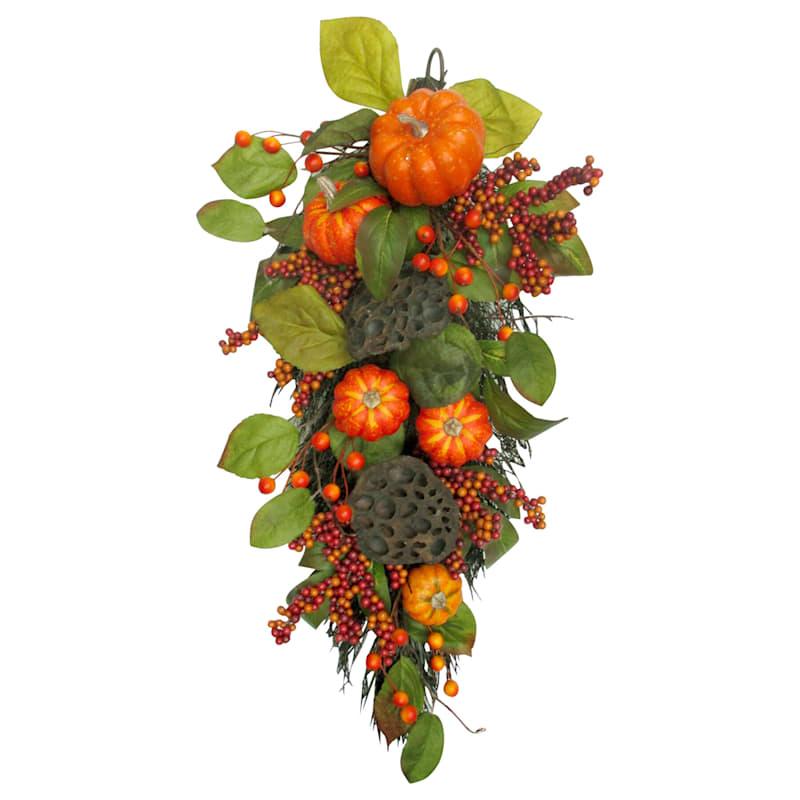 Orange Pumpkins With Green Leaves Teardrop Arrangement