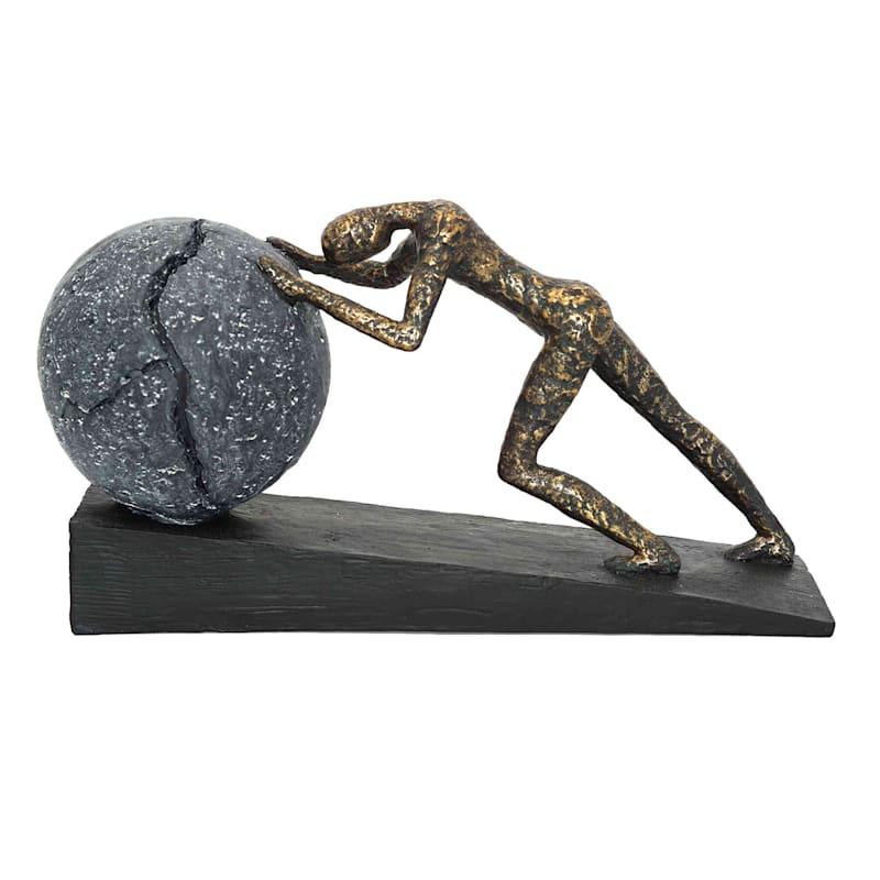 15X8 Resin Person Pushing Stone