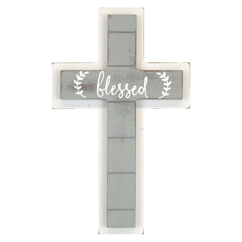 6X9.75 Blessed Cross Wood Wall Art