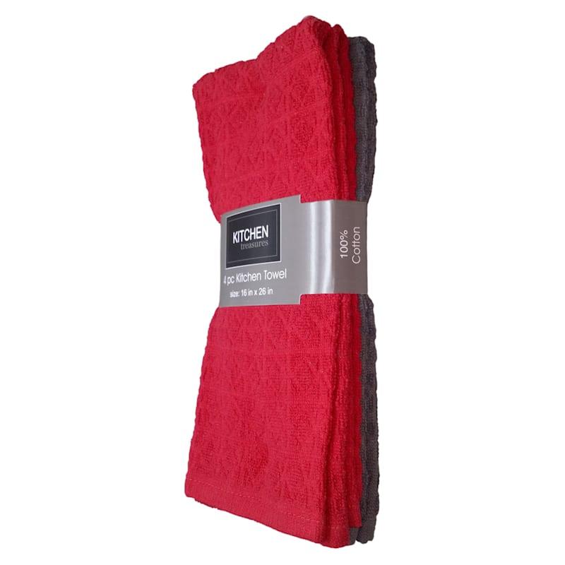 4-Piece Red/Dark Grey Solid Kitchen Towel