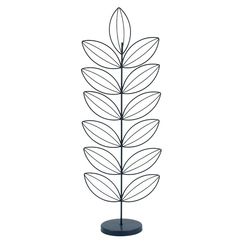 19in. Metal Blue Leaf Figurine