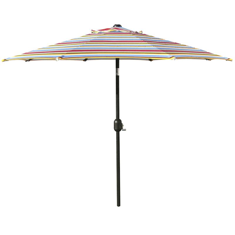Steel Bright Stripe Round Crank & Tilt Outdoor Umbrella, 7.5'