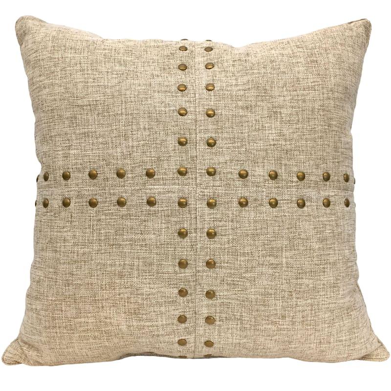 Linen Squares Nailhead Pillow 18X18