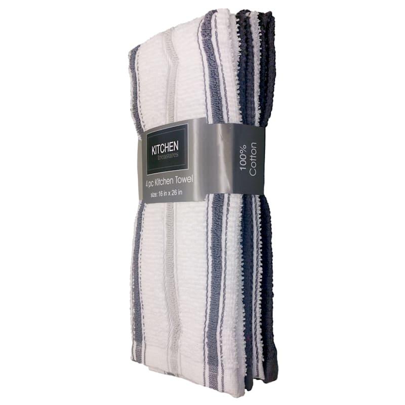 4-Piece Dark Grey/Taupe Stripe Kitchen Towel