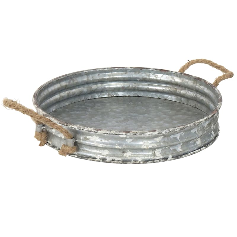 13X2 Iron Tray With Rope Handle