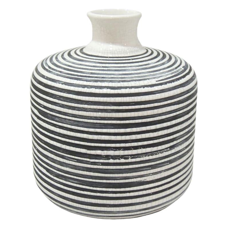 8in. Ceramic Vase Black/White Stripe