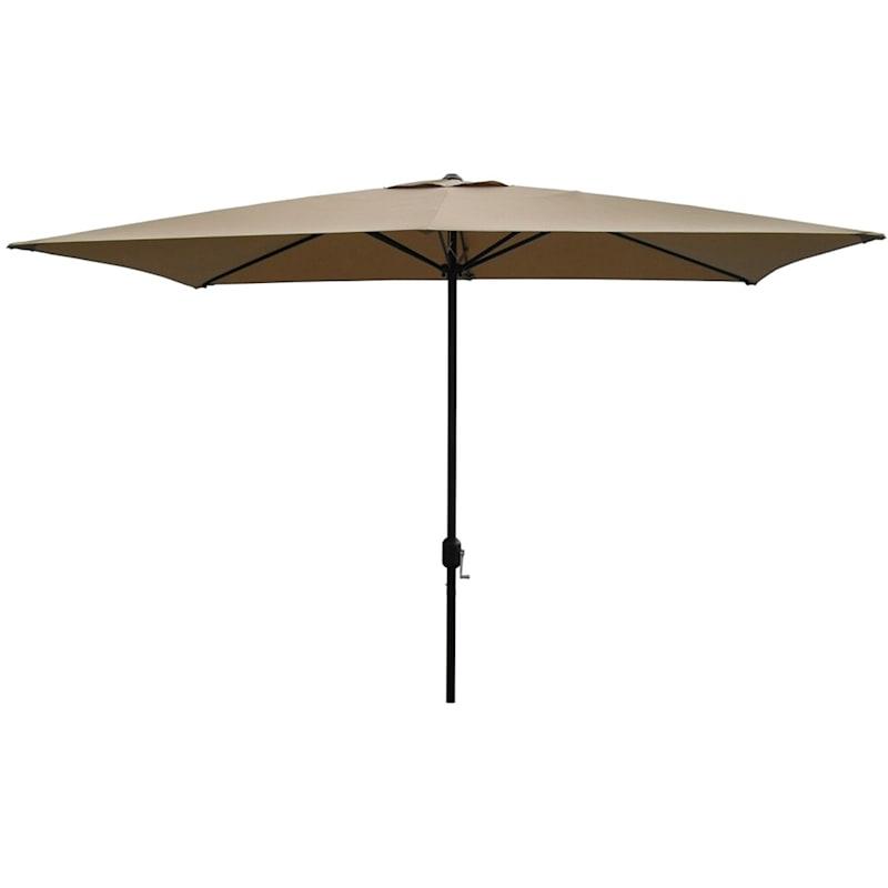 Tan Rectangular Steel Outdoor Umbrella, 6.5x10