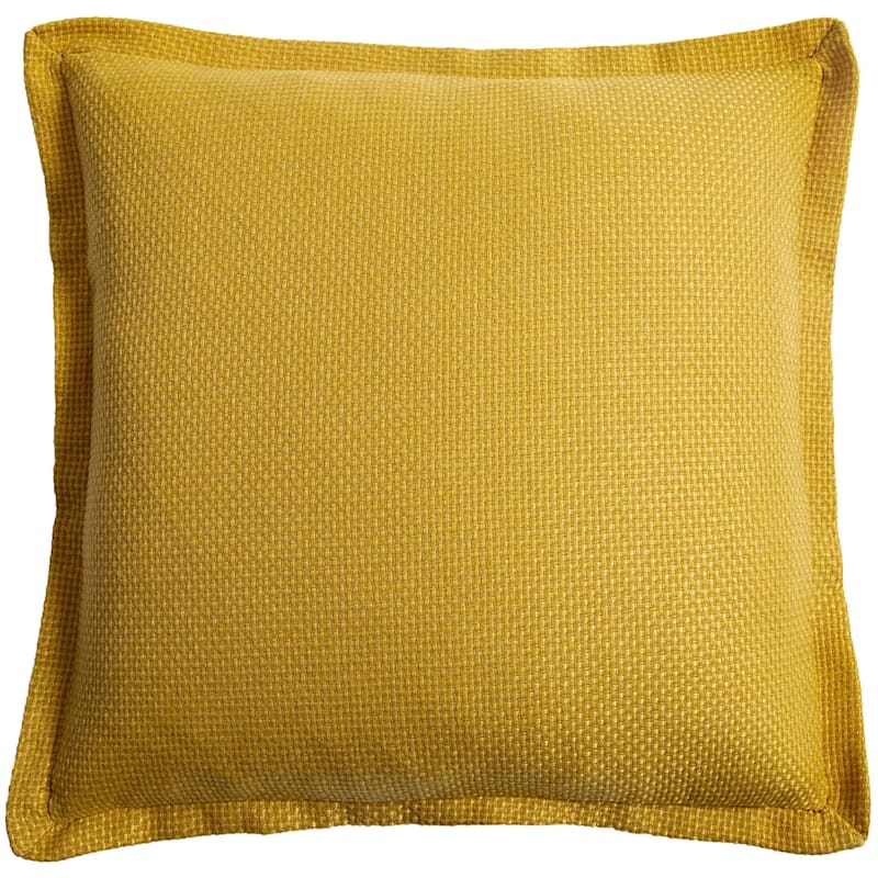 Shiloh Yellow Faux Linen Pillow With 1in. Flange 20X20