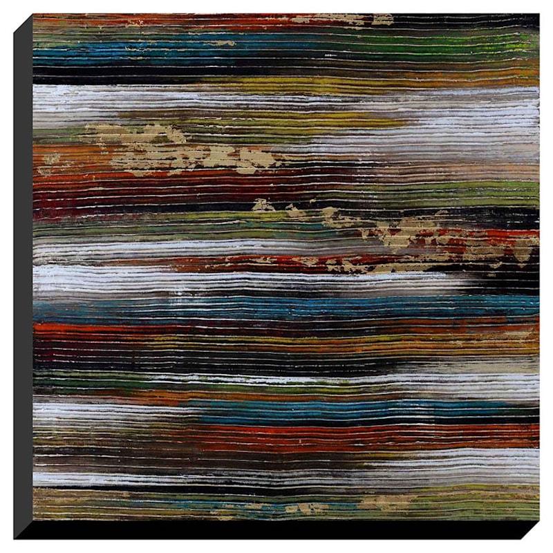 40X40 Horizontal Stripes Grooved Enhanced Canvas
