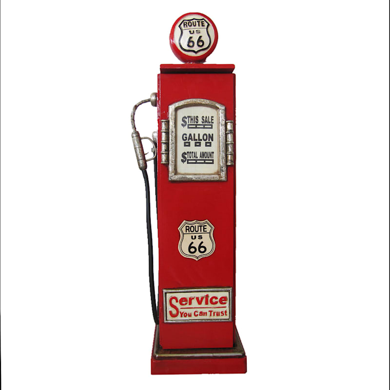 """Red Gas Pump Accent Cabinet, 35"""""""