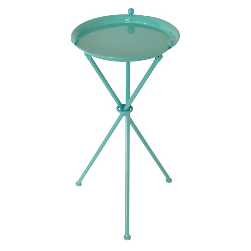 """Turquoise Metal Table, 24"""""""