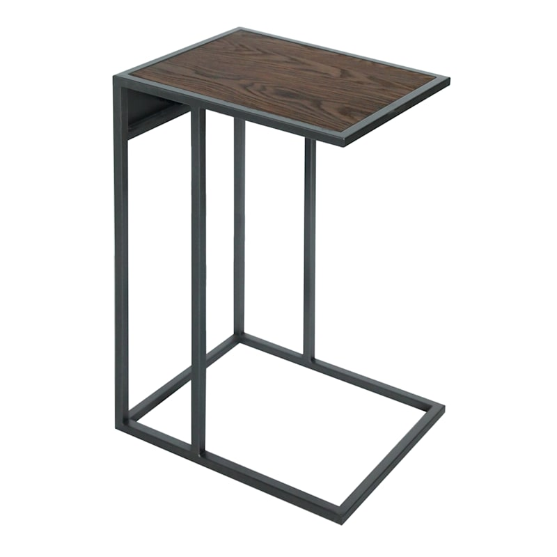 Metal C-Table with USB, Brown