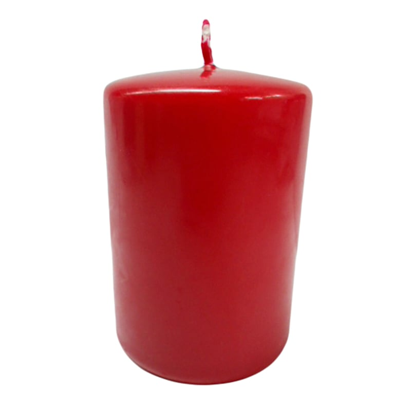 "Red Overdip Pillar Candle, 4"""