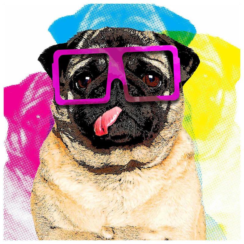 12X12 Colorful Pug Canvas Art