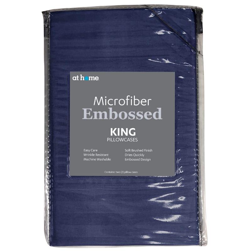 Navy Microfiber 2-Piece Pillow Case King 20X36