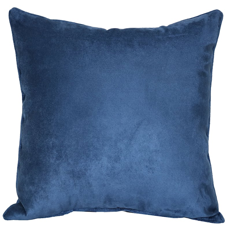Pillow Blue Heavy Faux Suede 18X18