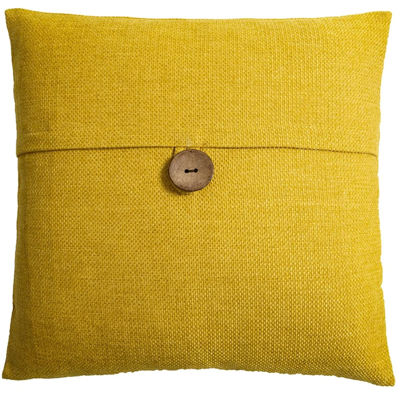 Clayton Yellow Feather Filled Coconut Button Pillow 20X20