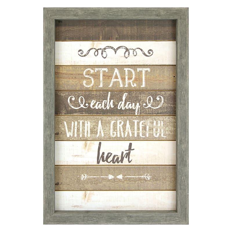 16X24 Start Each Day With A Grateful Art Framed Wood Wall Art
