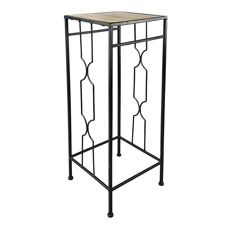 Metal Plant Stand With Wood Top Black, Large