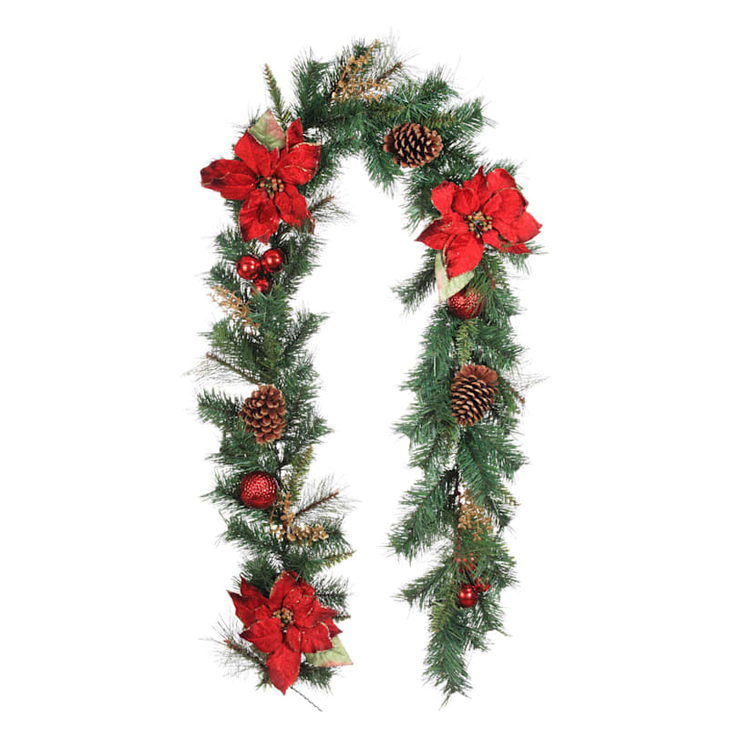 Red Glitter Poinsettia & Ornament Garland, 6'