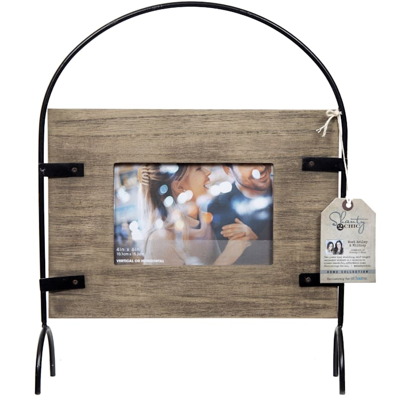 4X6 Brown Wash Frame With Metal Arch Standing Photo Frame