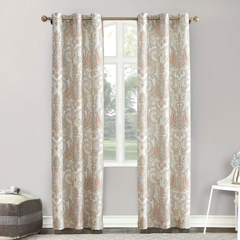 Wallace Coral Paisley Damask Casual Grommet Light Filtering Window Panel 84in.