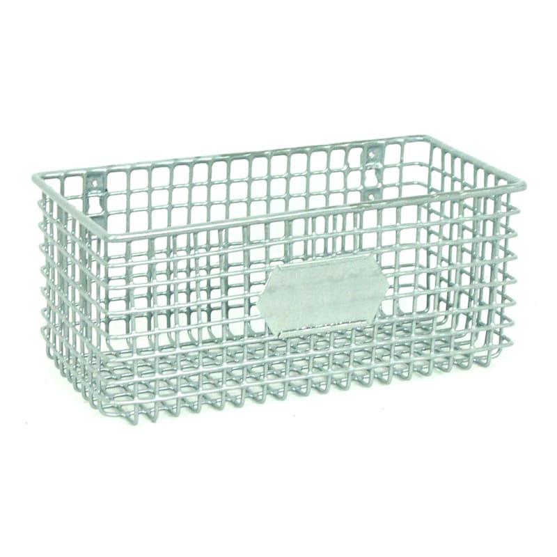 Rectangle Metal Mesh Wall Basket Silver