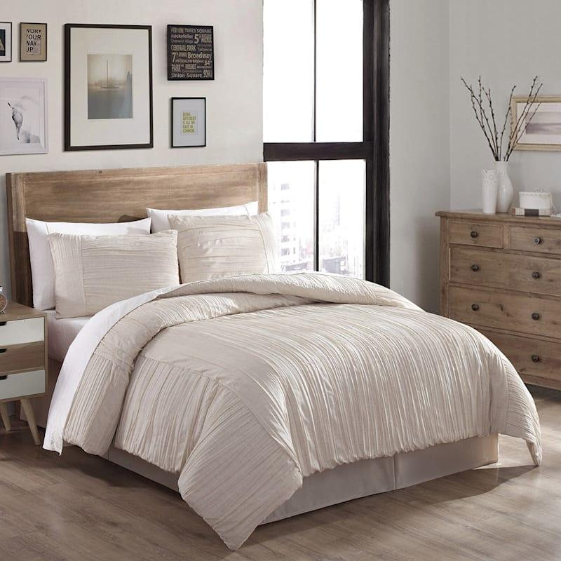 Natural 4-Piece Linen Blend Crush Comforter Set Queen