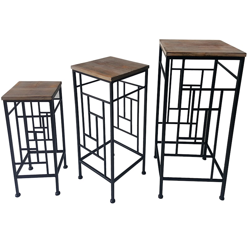 Wood Top Plant Stand With Metal Frame, Large