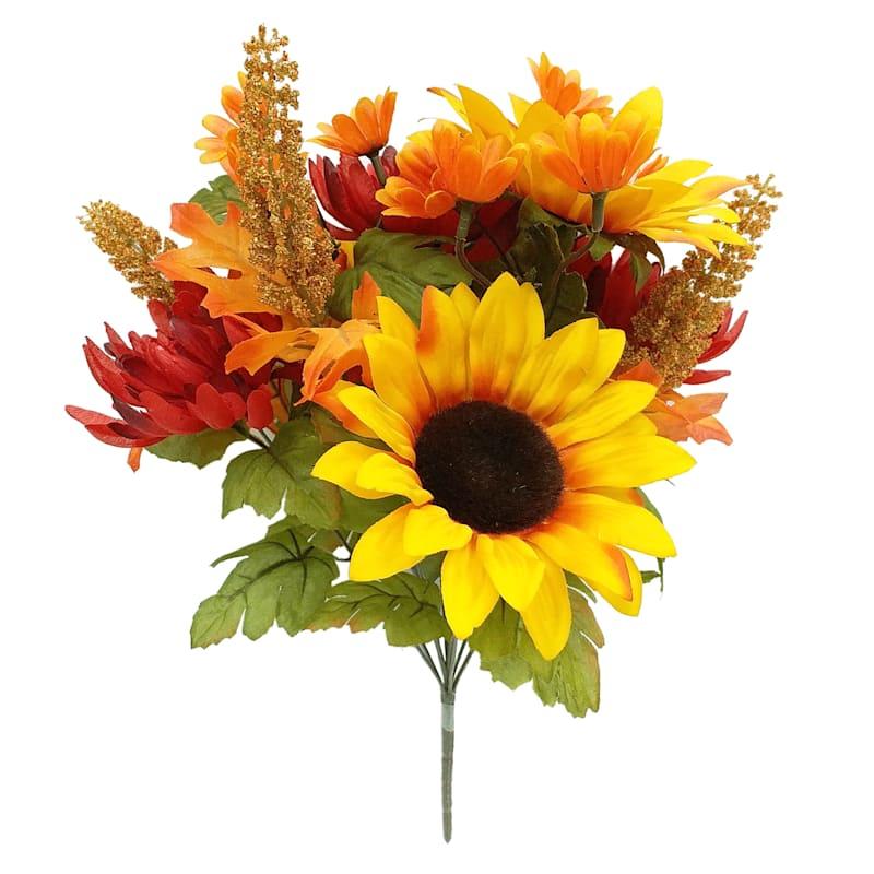 """Multicolor Sunflower & Mum Bush, 17"""""""
