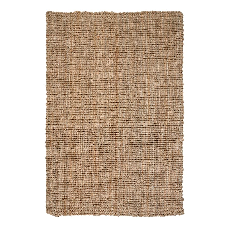 (B181) Jute Boucle Woven Accent Rug, 5x7
