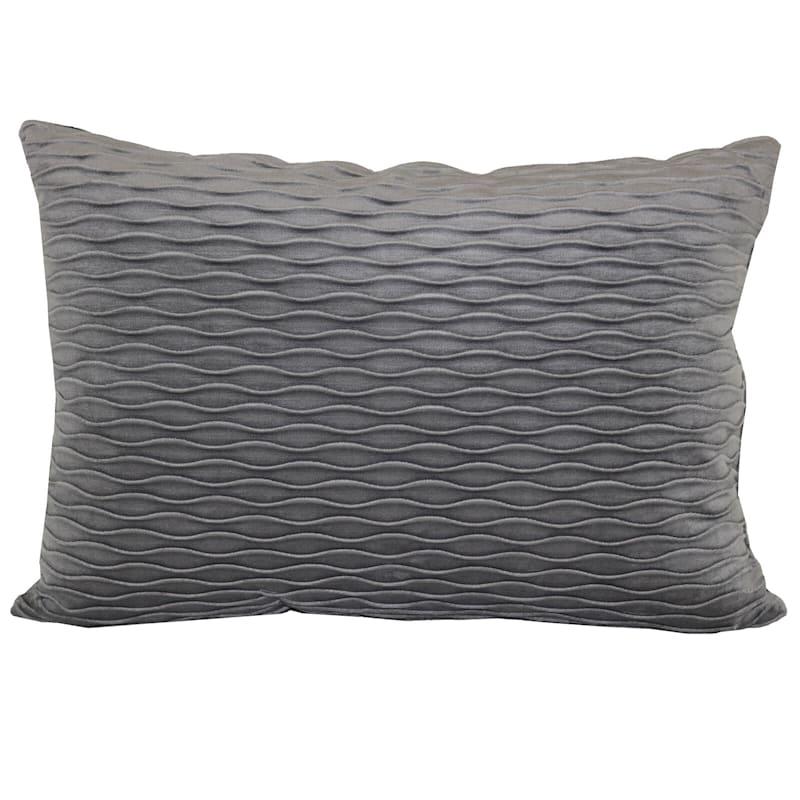 Grey Ripple Textured Plush Pillow 14X20