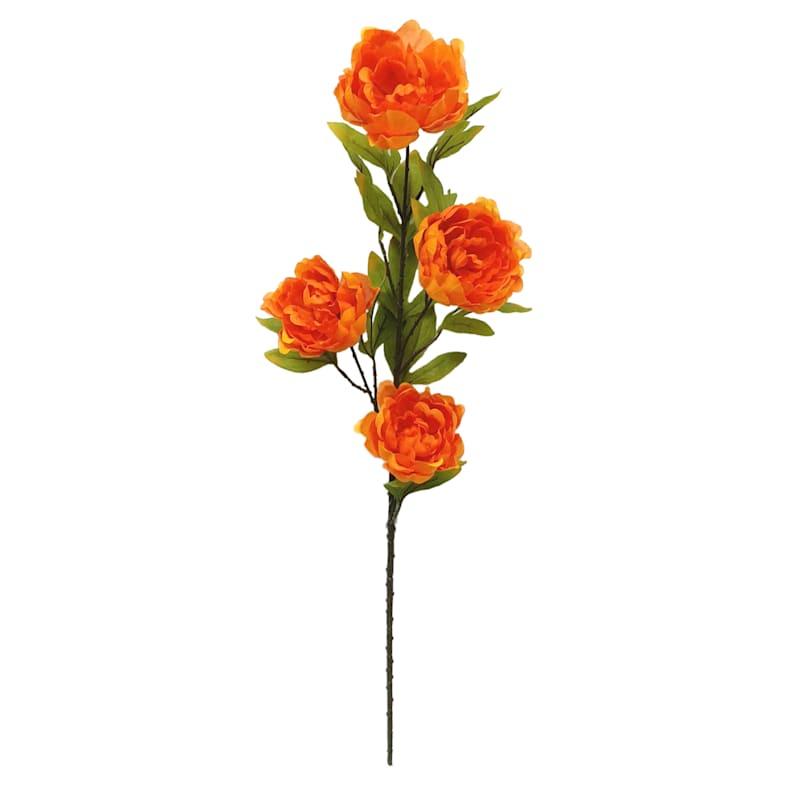 "4 Head Orange Peony Stem, 31.5 """