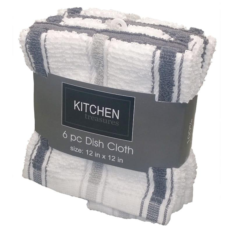 6-Piece Dark Grey/Taupe Stripe Dish Cloth