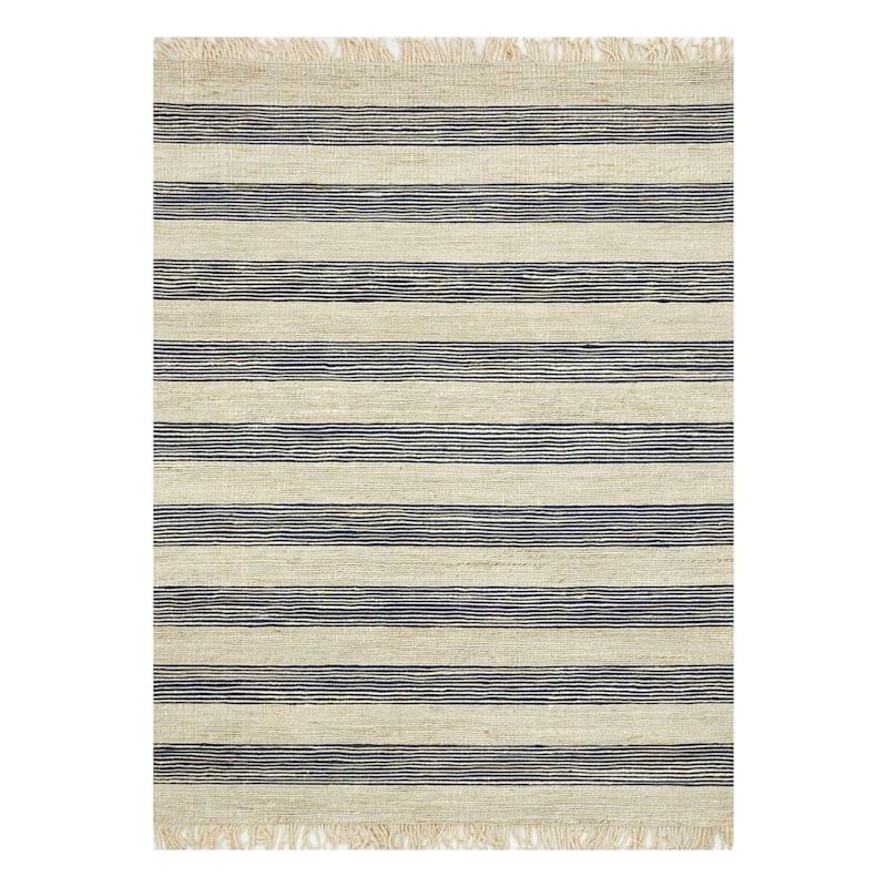 (B497) Hazel Stripe Natural & Navy Hand Woven Jute Area Rug, 5x7