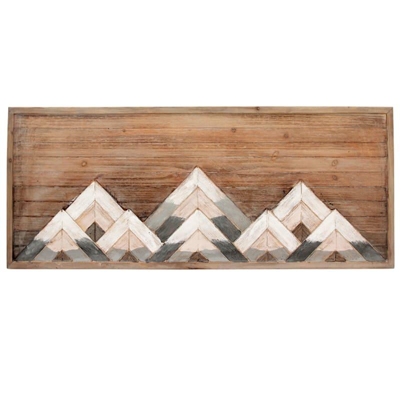 39X16 Wood Layered Mountains Wall Art