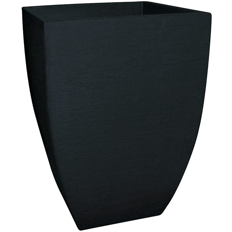 21X14.5 All Weather Proof Polyresin Modern Square Planter Lead