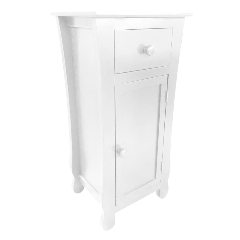 White One Drawer Thick Leg Cabinet