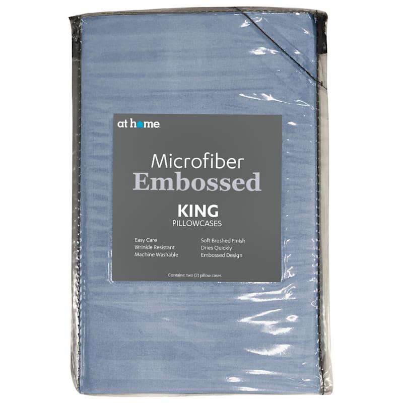 Blue Microfiber 2-Piece Pillow Case King 20X36