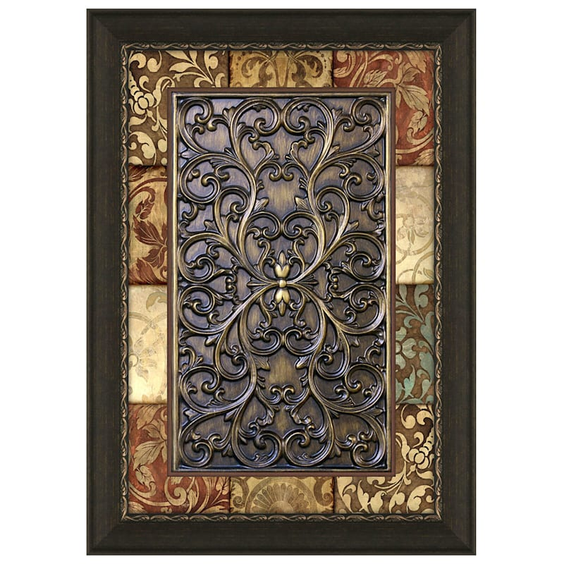 24X36 Alicia Patchwork Medallion Panel Framed Matted Under Glass