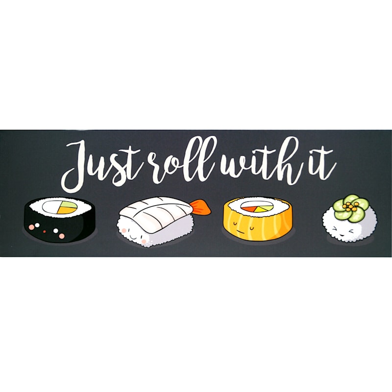 36X12 Sushi Just Roll With It Textured Canvas Art