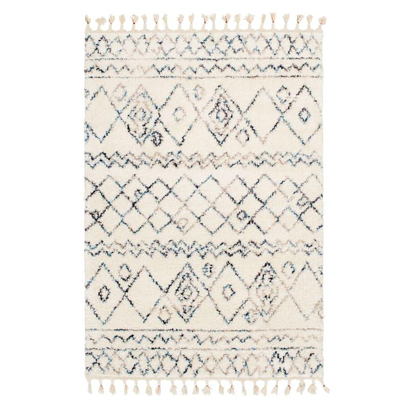 (C168) Ogon Tribal Woven Area Rug With Fringe, 8x10